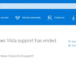 Microsoft объявила о прекращении поддержки ОС Windows Vista