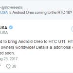 HTC официально подтвердила, что смартфоны HTC 10, U Ultra и U11 получат обновление ОС до Android Oreo