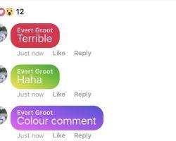 Facebook тестирует цветные комментарии