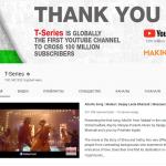 T-Series стал первым YouTube-каналом, набравшим 100 млн подписчиков