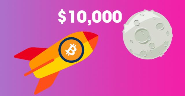 Новый рекорд: курс биткоина впервый раз побил отметку в10 000 долларов