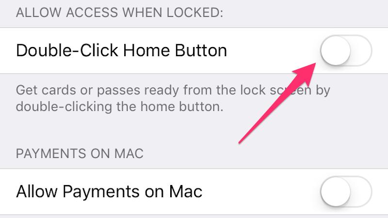 Как отменить Apple Pay при двойном нажатии на кнопку Home