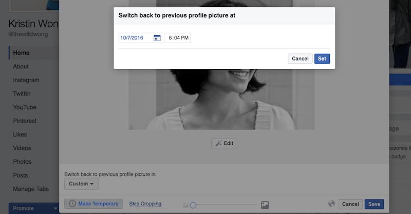Как установить временный аватар Facebook