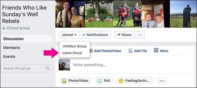 Как покинуть группу в Facebook